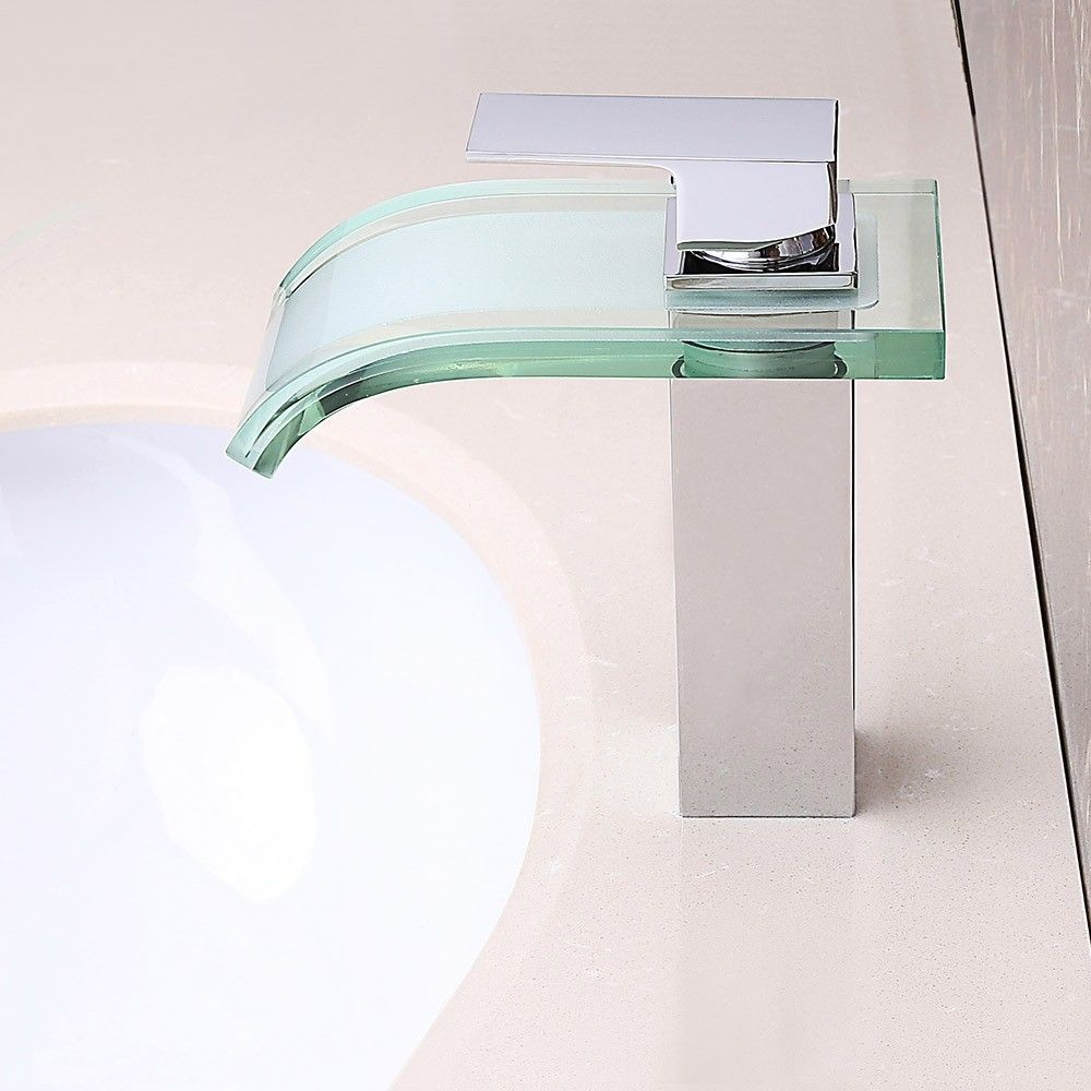 Homary Co-crystal LED Waterfall Glass 1 Handle Bathroom Vessel Sink Mixer Faucet