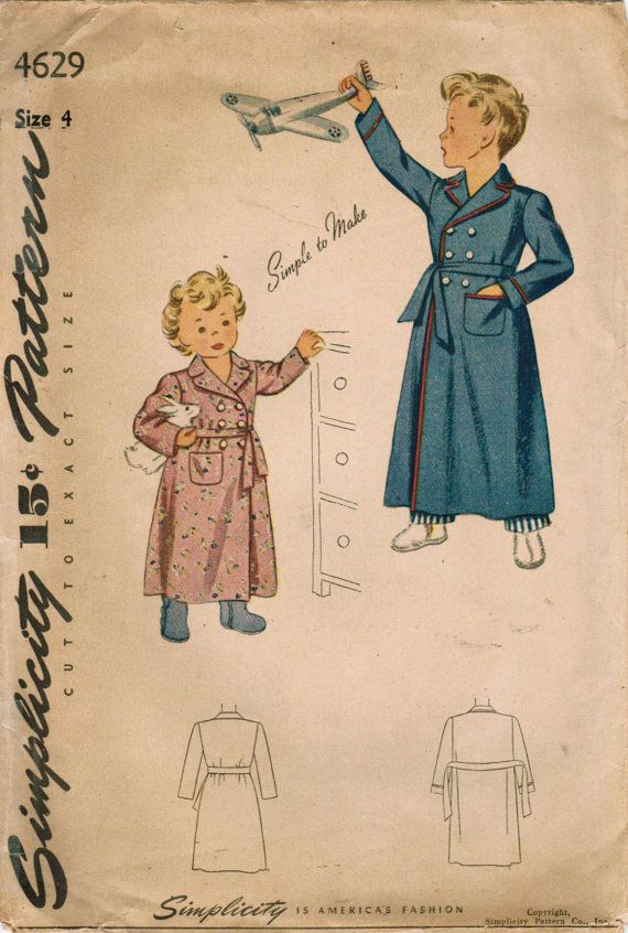 Simplicity 1940's bathrobe pattern