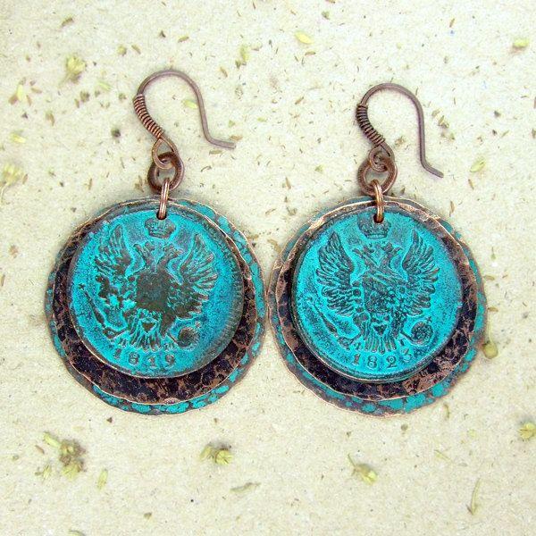 Pretty Pierced Earrings Turquoise Green Pearl Glass Beads 4.5cm Drop Handmade.