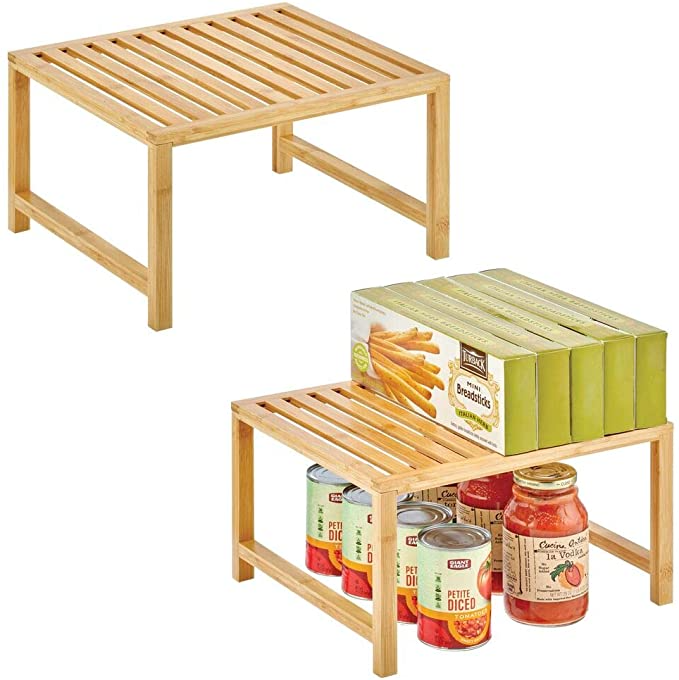 Amazon Com Mdesign Natural Bamboo Storage Shelf Food And Kitchen Organizer For Cabinets Pantry Shelves Countertops S In 2020 Storage Shelves Pantry Shelf Shelves