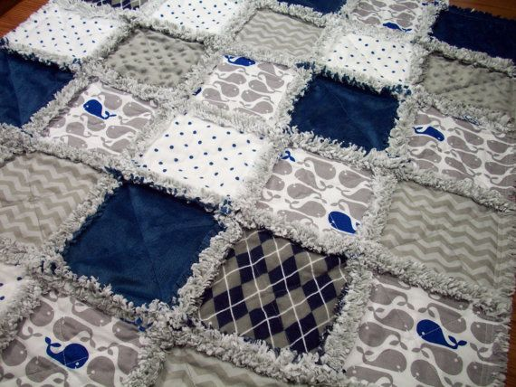 Nautical Whales Navy Blue White And Gray Baby Rag Quilt A Whales Cotton Print A White With Blue Polka Dots Flannel Na Rag Quilt Baby Rag Quilts Baby Quilts