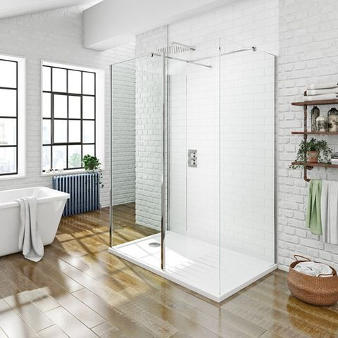 Orchard 8mm 3 Sided Walk In Shower Enclosure Pack With Shower Tray