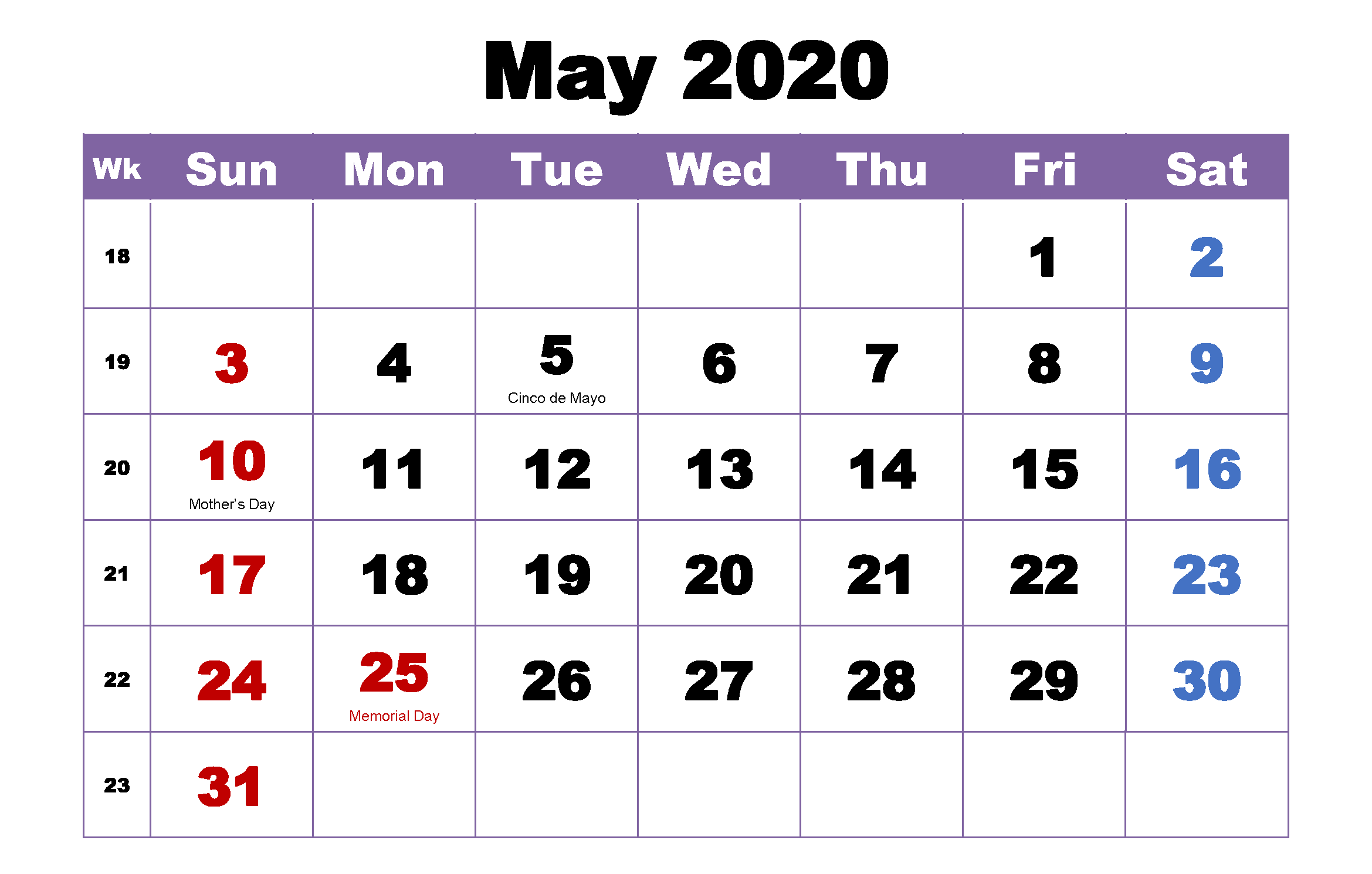 Pictures of Calendar For May 2021 With Holidays