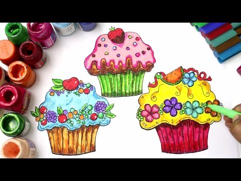 Cupcakes Drawing And Coloring Colouring Pages For Kids With Colored Markers Youtube Coloring Pages For Kids Cupcake Drawing Coloring Markers