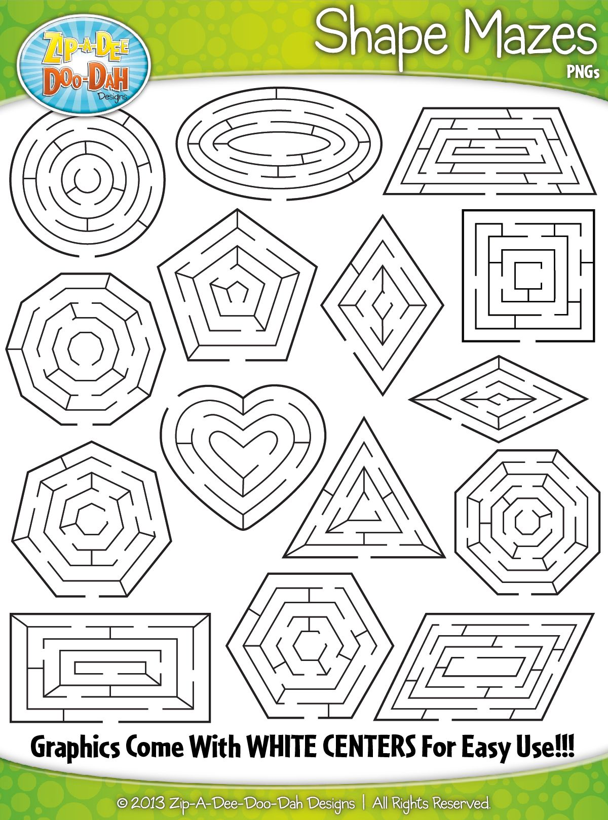 2d Shapes Shaped Mazes Clipart Zip A Dee Doo Dah Designs