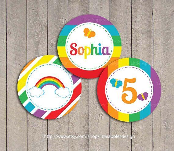 Rainbow Cupcake Toppers / Rainbow Birthday Printables / Rainbow