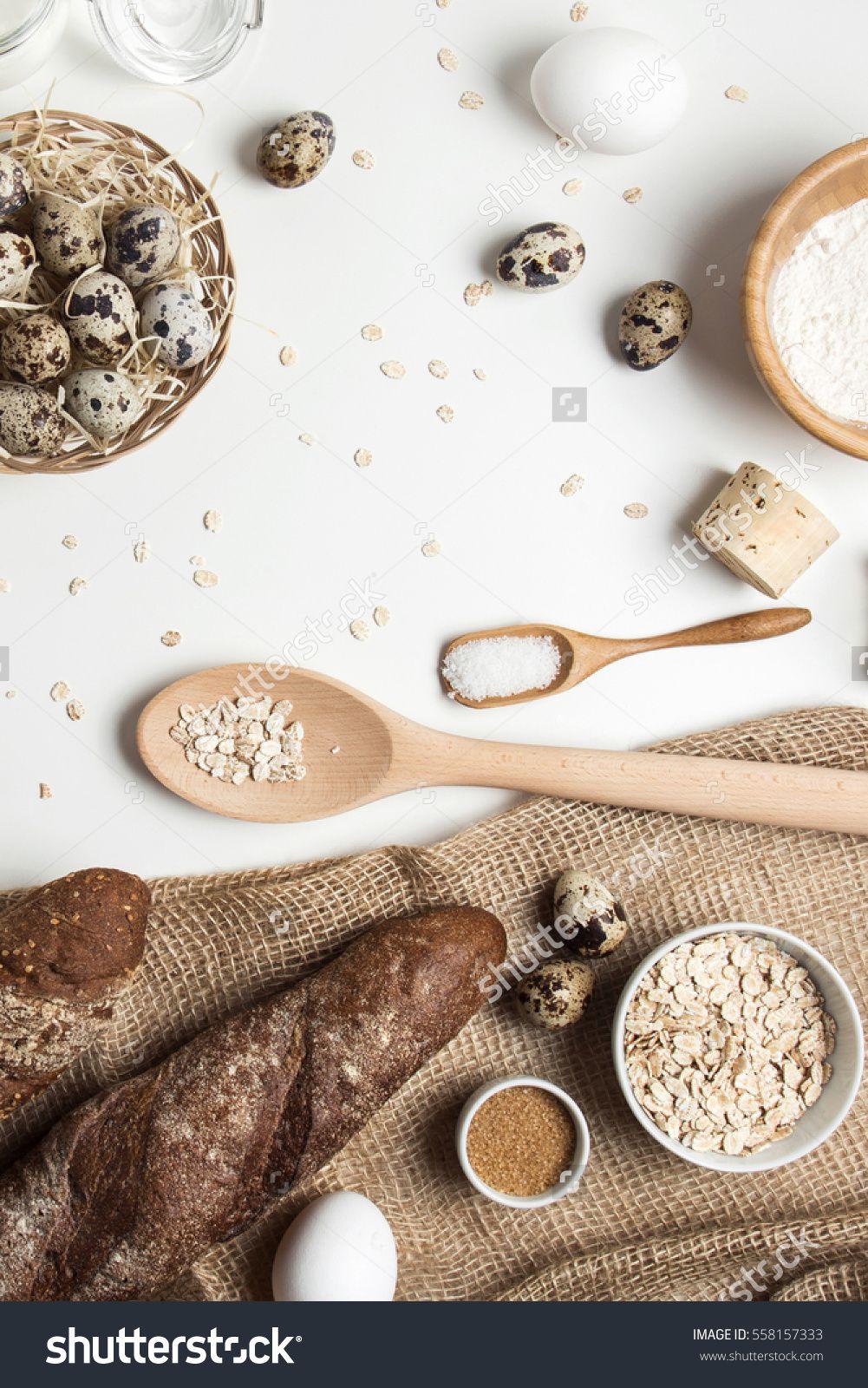 Baking flatlay with wooden utensils, rustic fabric, sugar, chicken ...