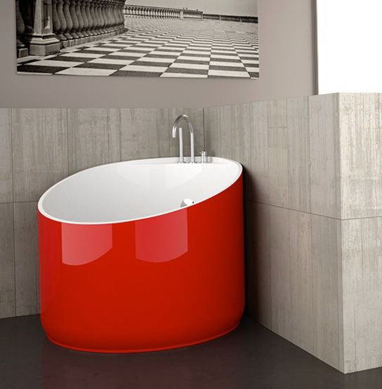 Sophisticated Red Bathroom Architect Lover