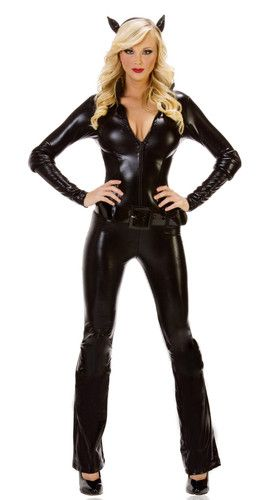 04079b13c63 New Medium Size Sexy Cat Woman Black Suit Halloween Costume with Head Band