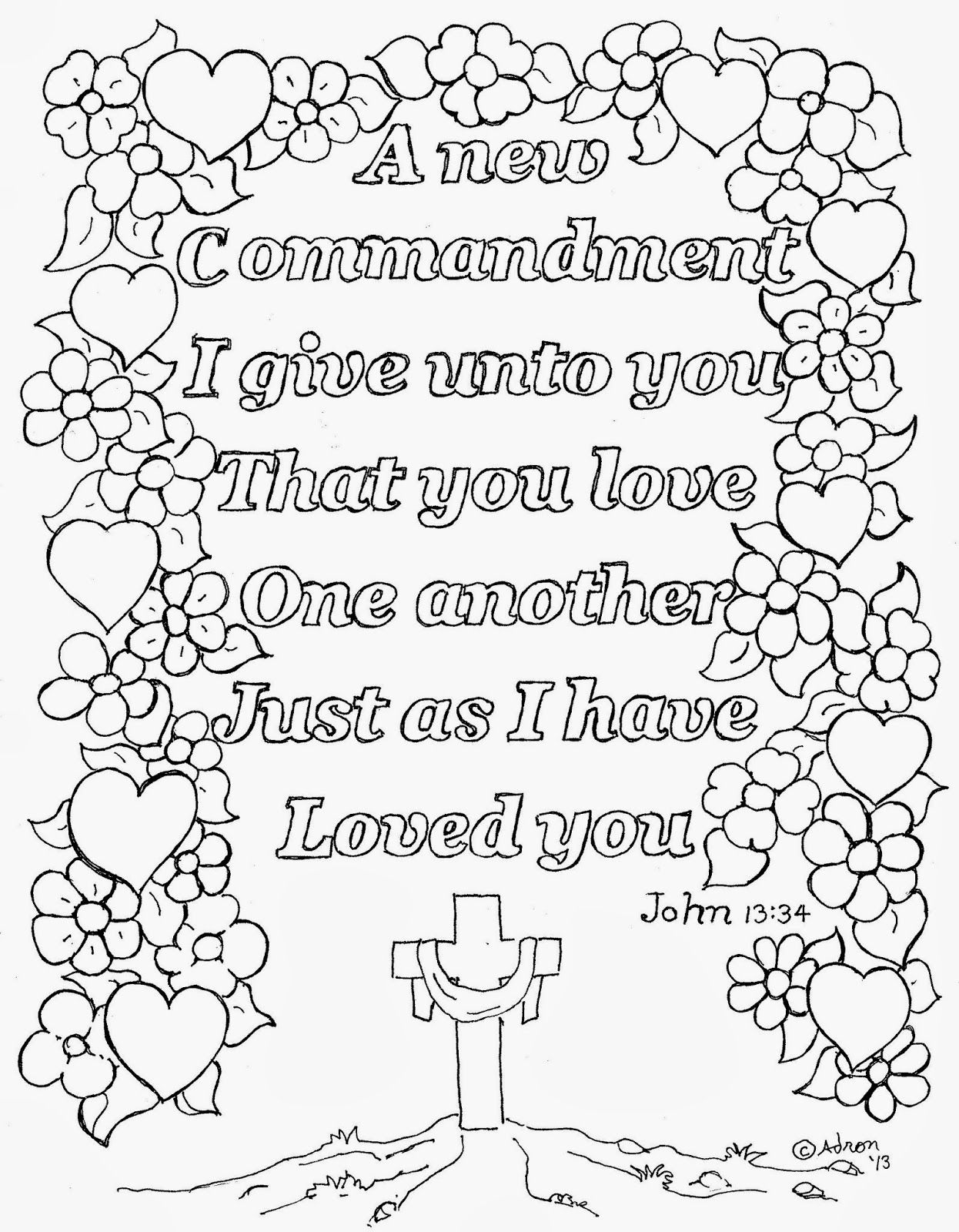 Coloring pages with bible verses - A Free Kids Coloring Page With The Words Of The Verse So Kids Can Color It In The Scripture Says A New Commandment I Give Unto You That