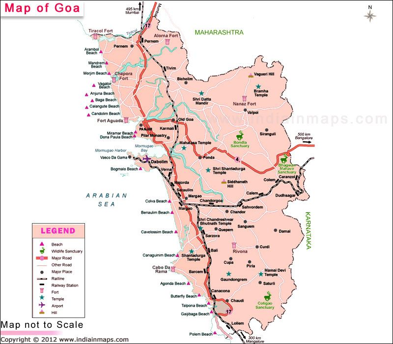 Goa District Map. Political Map of Goa, India. Find ...