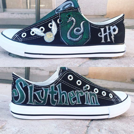 Custom Harry Potter Inspired Slytherin hand painted shoes