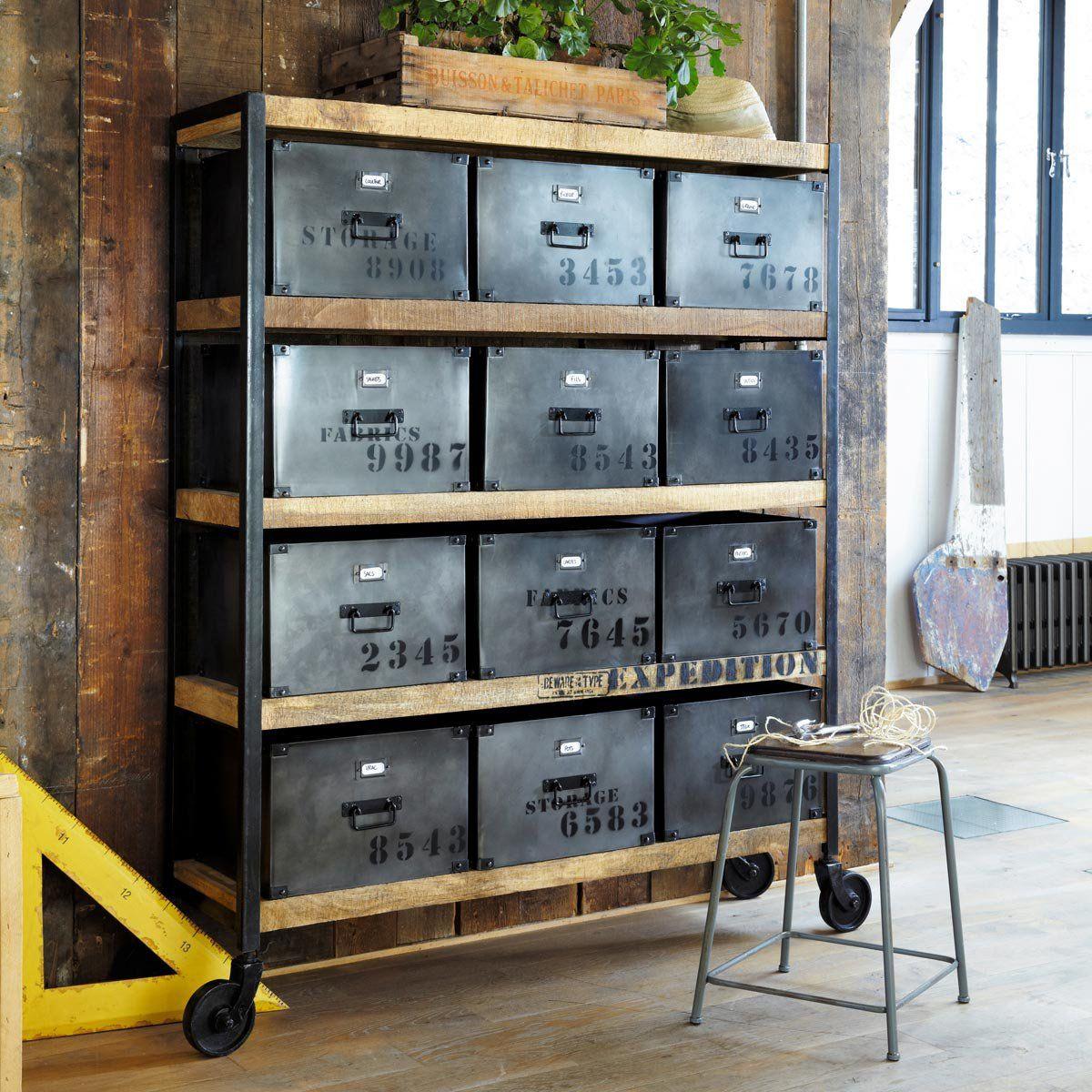 Commode Chambre Style Industriel indus #industriel #metal #beton #bois | wonen | salon