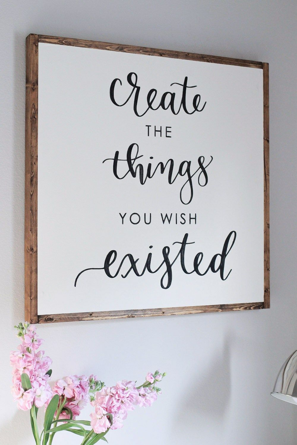 DIY Wood Sign with Calligraphy Quote Craft room signs