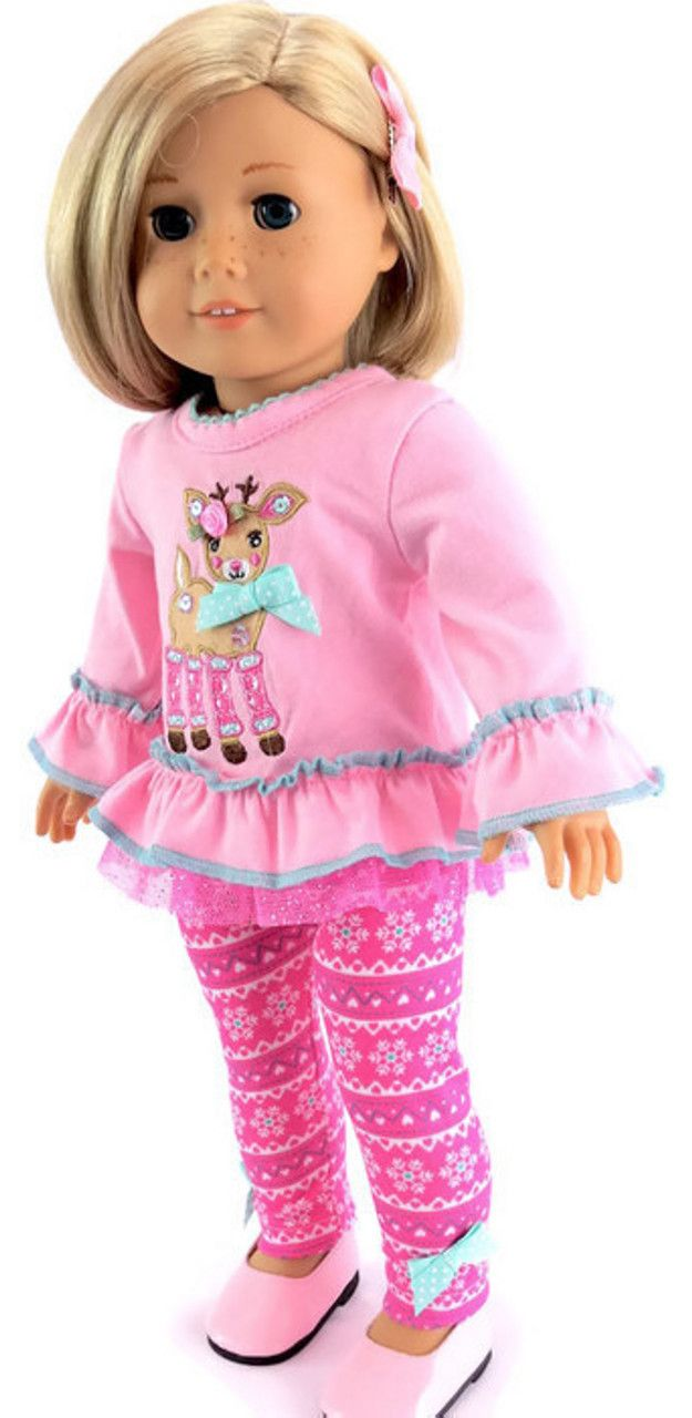 """Reindeer Top Snowflake Leggings Pink Doll Clothes For 14/"""" Wellie Wishers AG"""