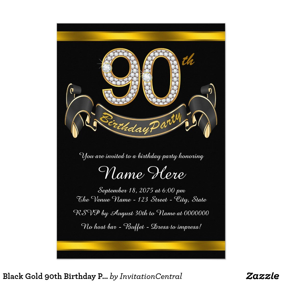 Black Gold 90th Birthday Party Card Invitation With Diamond Numbers And Banner On A Beautiful Background
