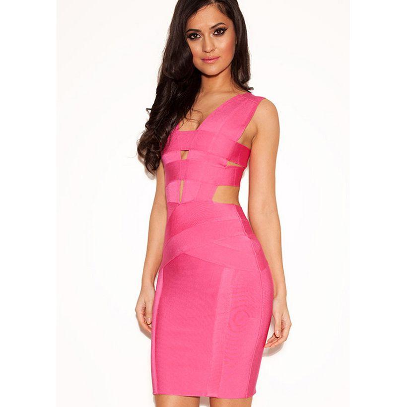 2016 New European Fashion Women Dress Yellow Pink Bodycon Dresses ...