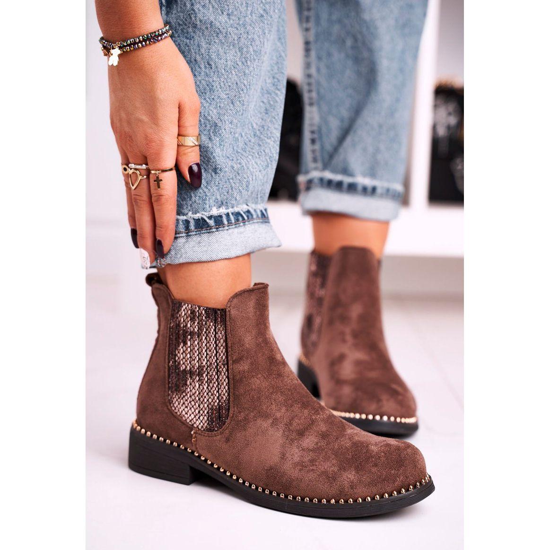 Damskie Botki Sztyblety Z Dzetami Zamszowe Brazowe Meagan Chelsea Boots Ankle Boot Boots