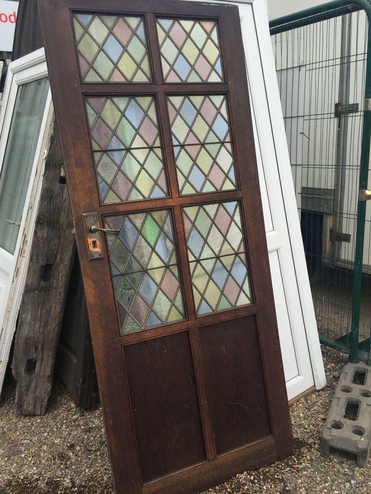 Oak Internal Door With Leaded Glass Fireplace Cupboards