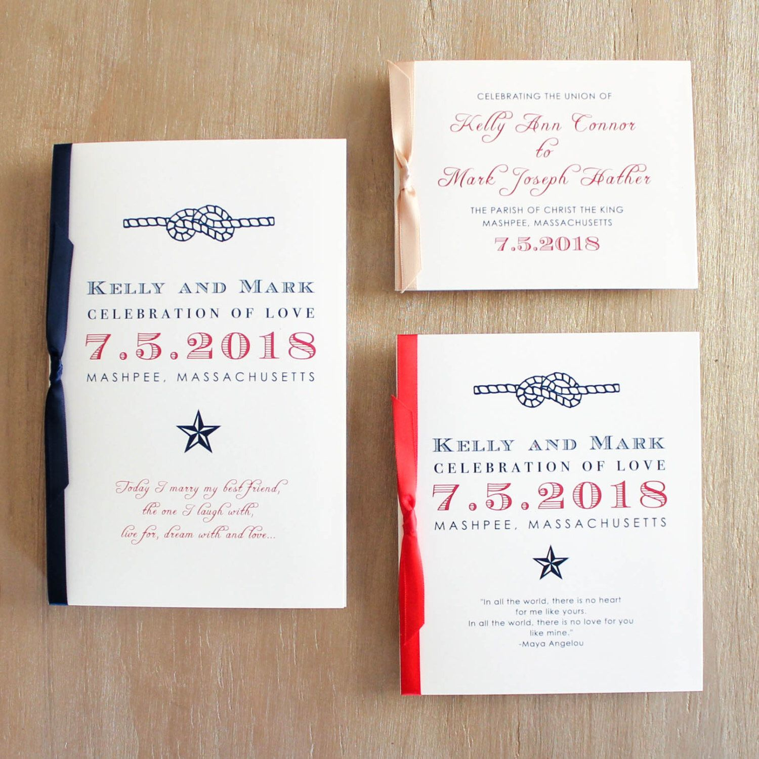 Patriotic Preppy Wedding Program With Red White Blue Americana Or Booklet Cover W Blank Interior Pages Customizable Colors Wording Fonts
