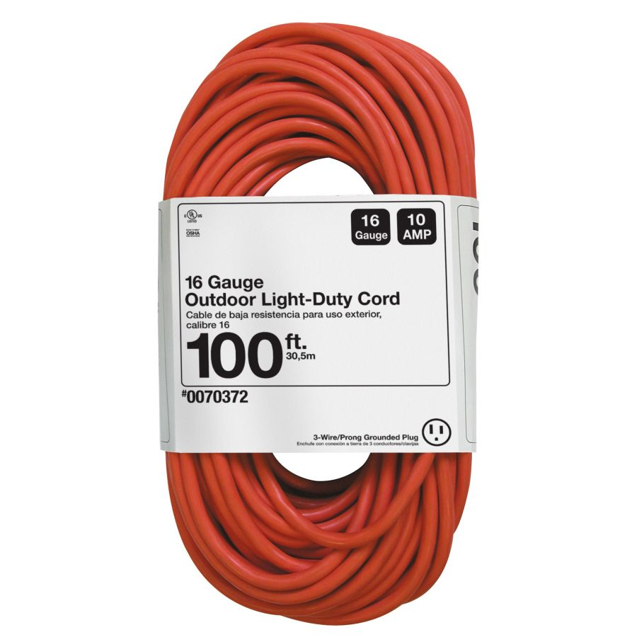 Project Source Project Source 100 Ft 16 3 3 Prong Sjtw Light Duty General Extension Cord Lowes Com Outdoor Extension Cord Extension Cord Lowes Home Improvements