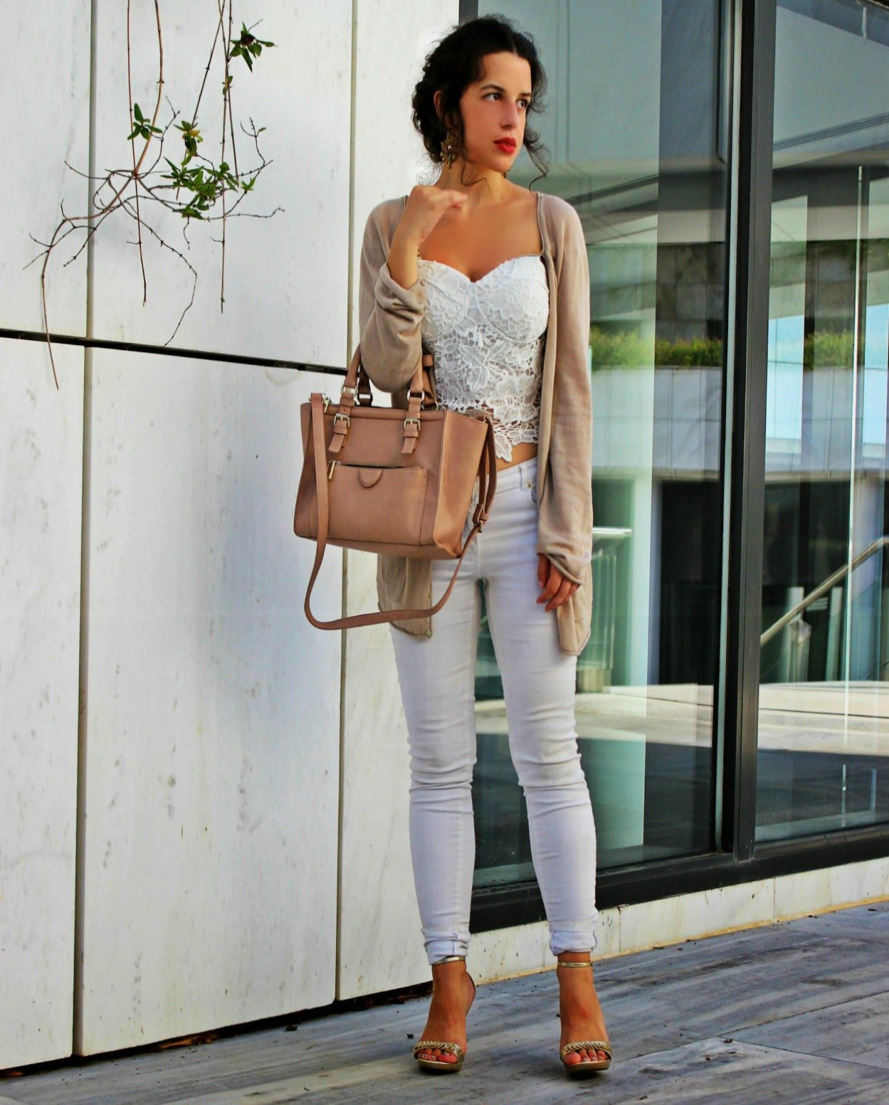 Women's Beige Open Cardigan, White Lace Bustier Top, White ...