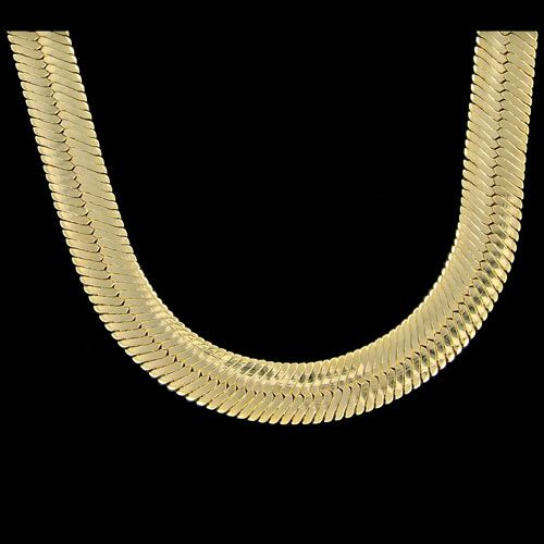 Mann Gold Herringbone Chain Plated JUMBO 14mm Wide Herringbone