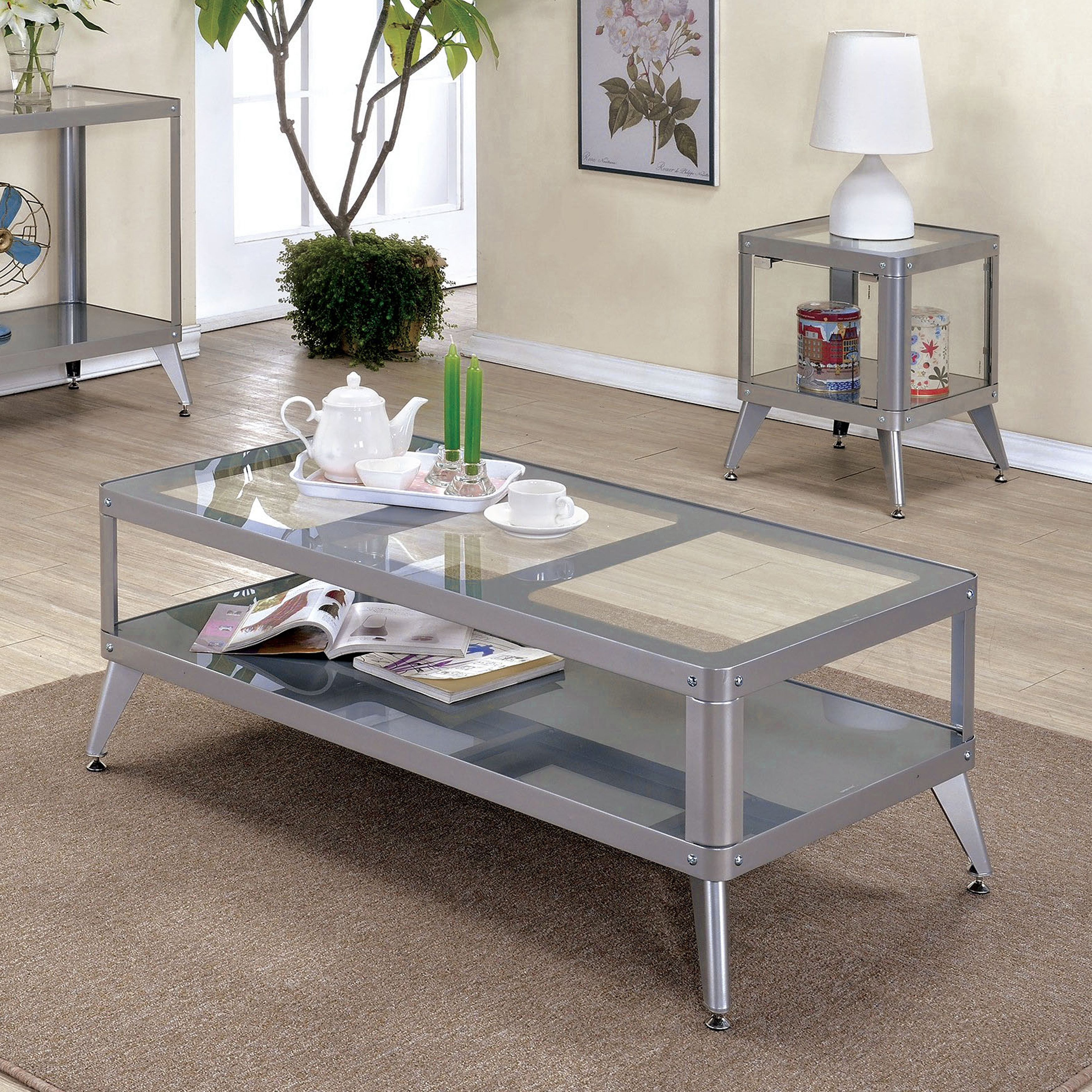 Modern glass end table  Furniture of America Linden Modern piece Glass Top Metal Accent