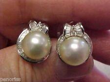 Gorgeous Large Pearl & Diamond Earrings 14k  White Gold   Make Offer