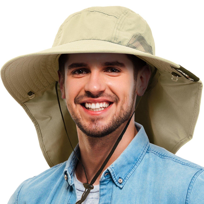 8d2f1c11e99 Unisex Safari Sun Flap Hat Fishing Hiking Cap With Neck Cover Wide Brim Hat  - Tan - CZ1808TNXDW - Hats   Caps
