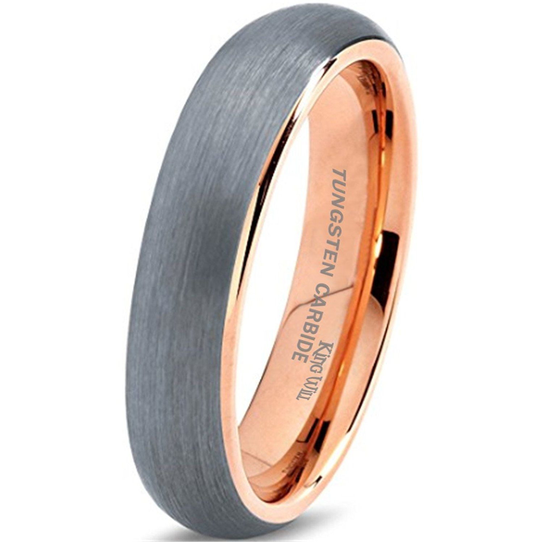 King Will Tungsten Carbide Wedding Band Ring 6mm 18K Rose