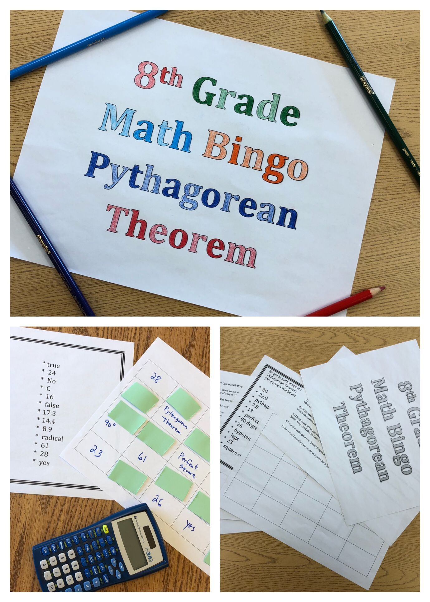 8th Grade Math Pythagorean Theorem Review Bingo