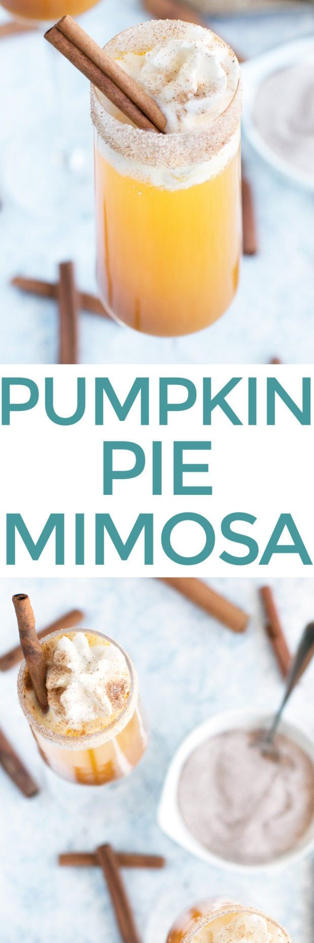 Pumpkin Pie Mimosa - Cake 'n Knife #simplecocktail