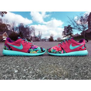 info for e745e 0be5d HAND PAINTED Custom Nike Roshe Run Hawaiian Floral Turquoise Shoes, Pink  Shoes, Floral Print