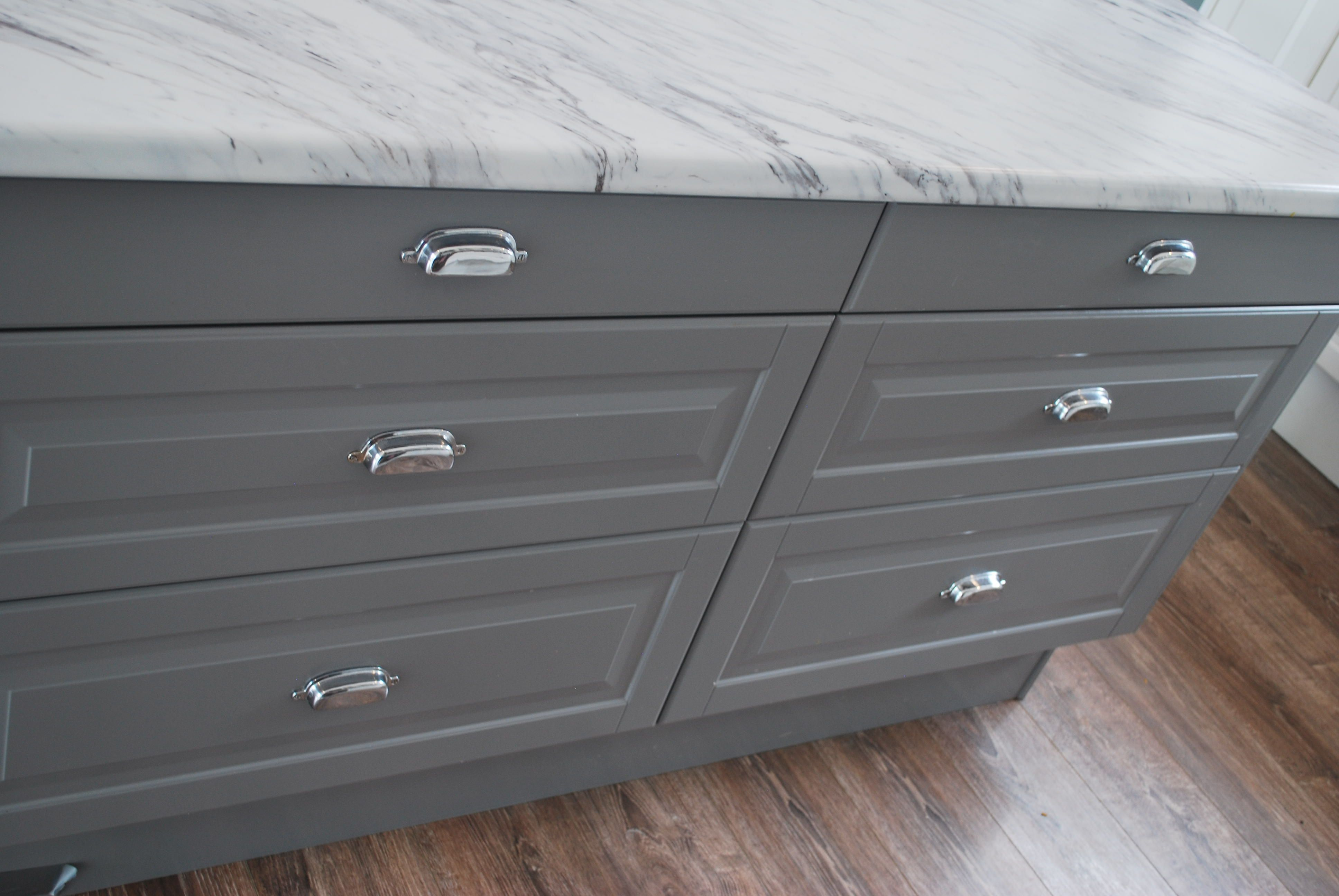 "Ikea lidi gray cabinets with ""marble"" laminate countertops"