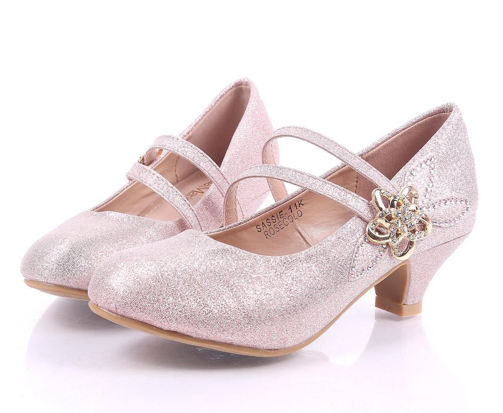 Rose Gold Girls Elastic Strap Flower Rhinestone Kids Kitten Heels Youth Shoes Bellamarie Dressshoes Party Girls Glitter Shoes Girls Shoes Youth Shoes