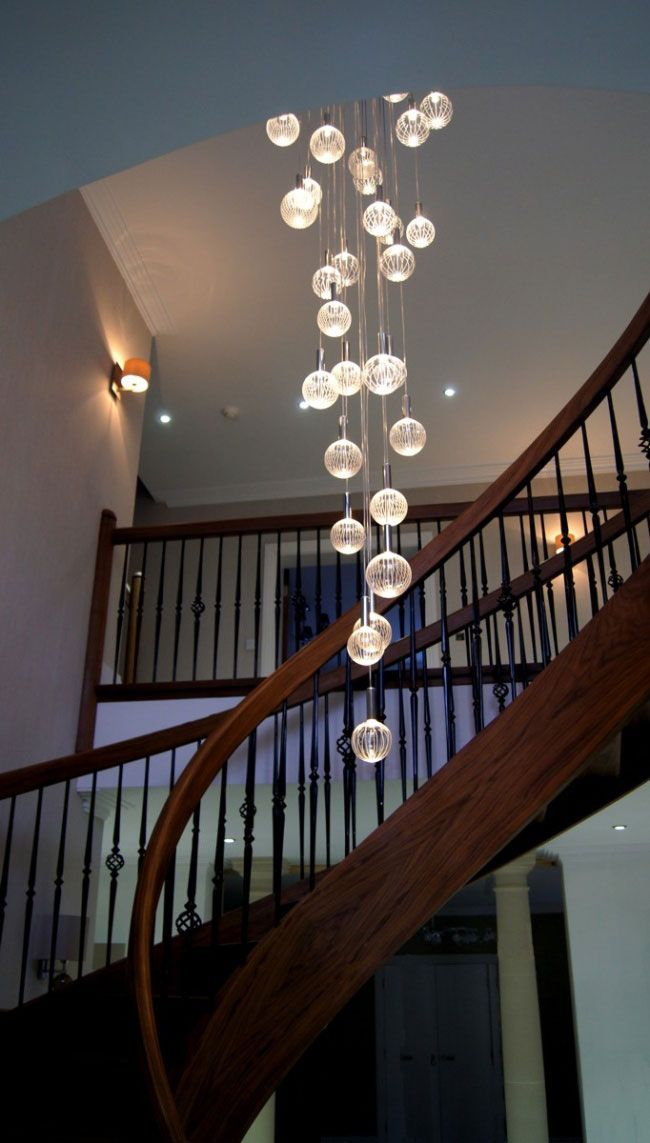 Lighting Basement Washroom Stairs: Very Long Modern Chandelier