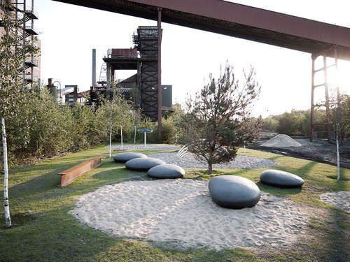 Public bench / organic design / glass fiber reinforced