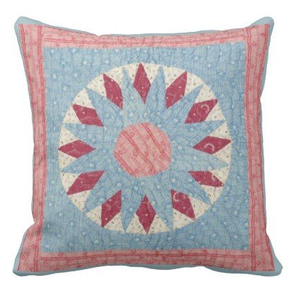 #elegant - #Mariners Compass Vintage Quilt-Look Pillow