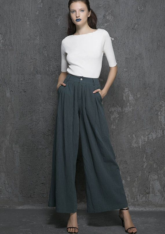 Green linen pants maxi pants women pants 1338 by xiaolizi on Etsy ...