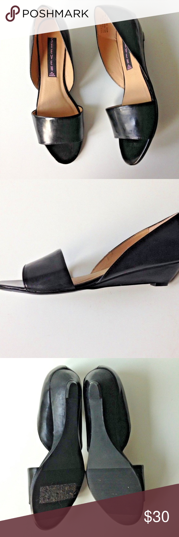 b863bb1b30b STEVEN By Steve Madden Luckie Black Patent Wedge • Very trendy and Comfy  Wedges by STEVEN BY STEVE MADDEN • Sz 6.5 • Color   Black • Heel Height  Approx ...