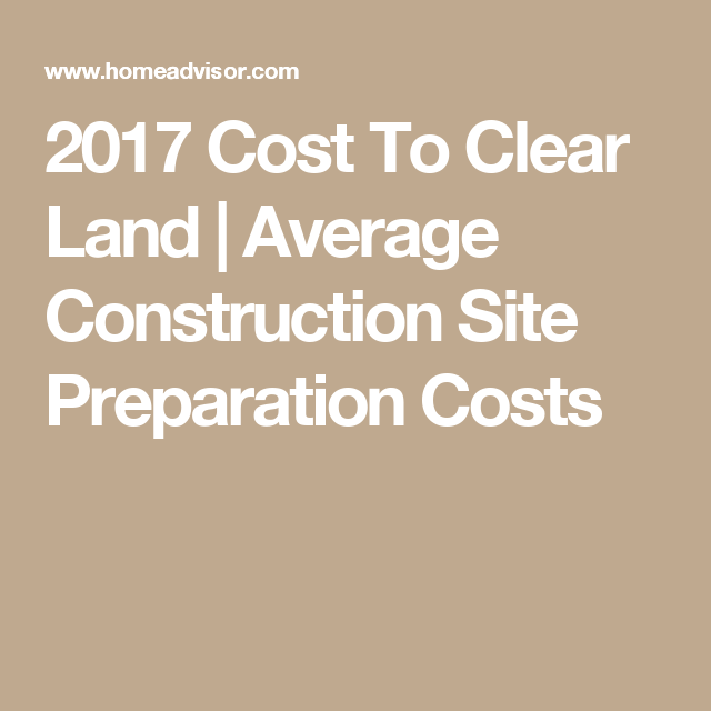 2017 Cost To Clear Land | Average Construction Site
