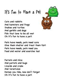 Pet Song Lyrics And Audio File Perfect For Ells Pets Preschool