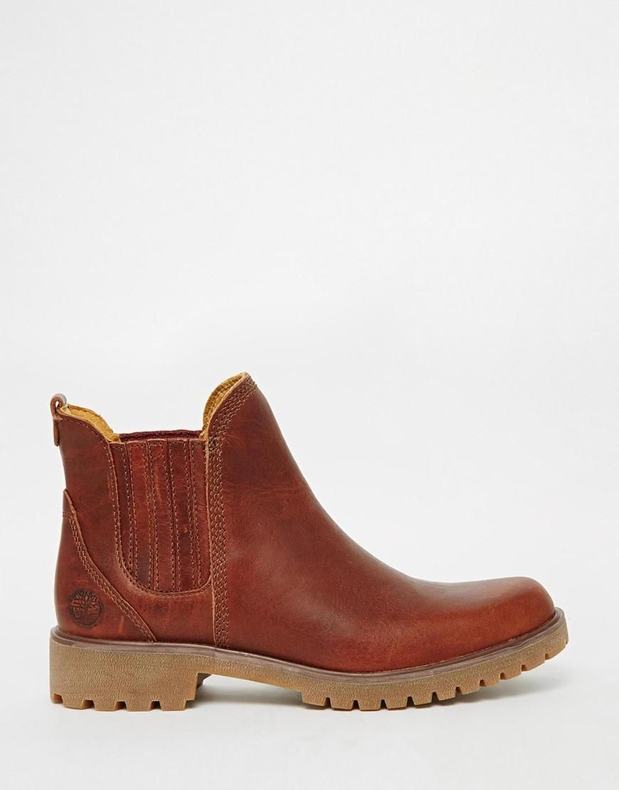 Buy Women Shoes / Timberland Lyonsdale Tan Leather Flat Chelsea Boots