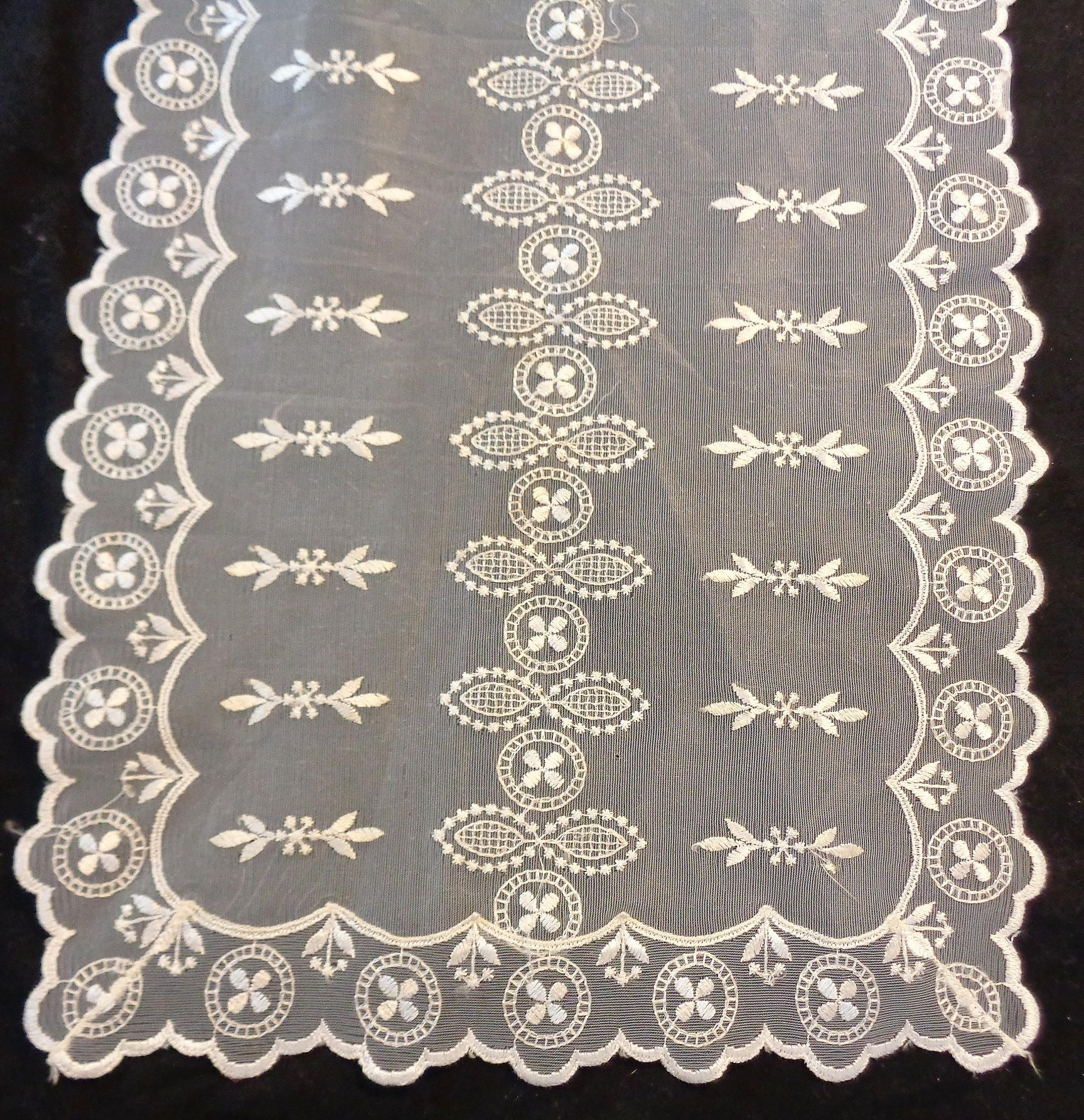 Vintage White Net Lace And Embroidery Dresser Scarf Table Runner 40 X 14 1 4 Large C 1950 S