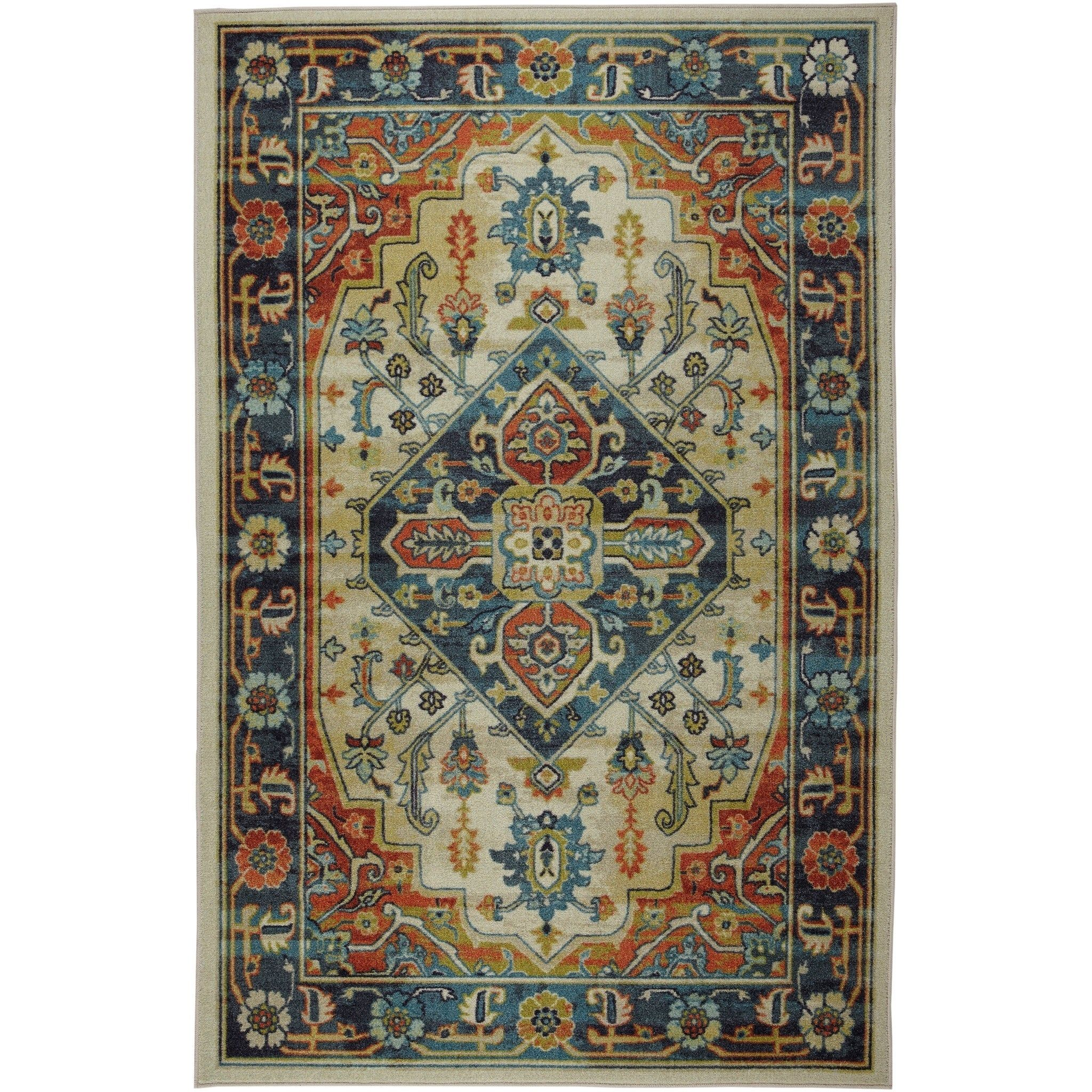 Mohawk Prismatic Klester Area Rug 5 X 8 Blue Orange Mohawk Home Colorful Rugs Area Rugs Blue Area Rugs