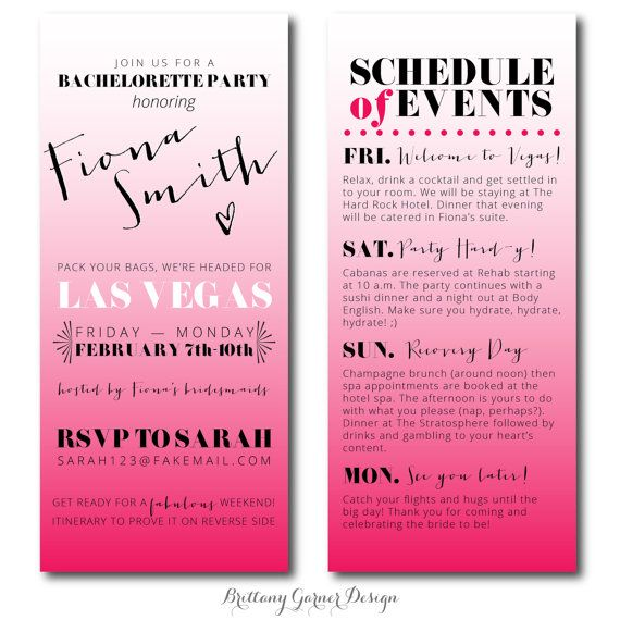 fun ombre pink weekend bachelorette party invitations with itinerary