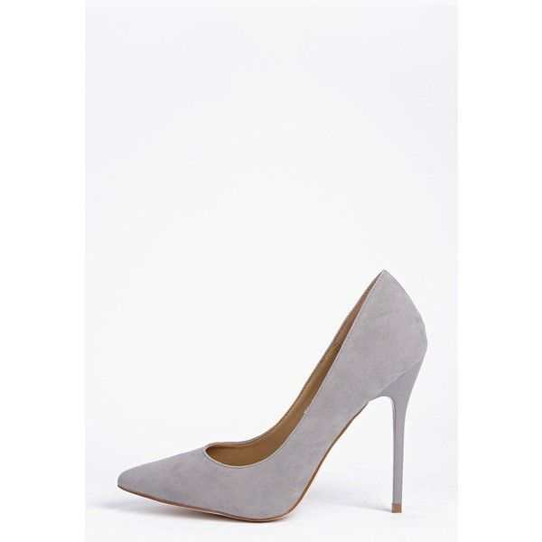 Boohoo Sofia Pointed Court Heel ($40) ❤ liked on Polyvore featuring shoes, grey, high-heel mules, slip-on shoes, platform slip on shoes, platform shoes and pointy shoes