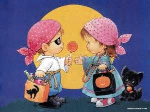boy and girl with black cat going trick or treating orange moon