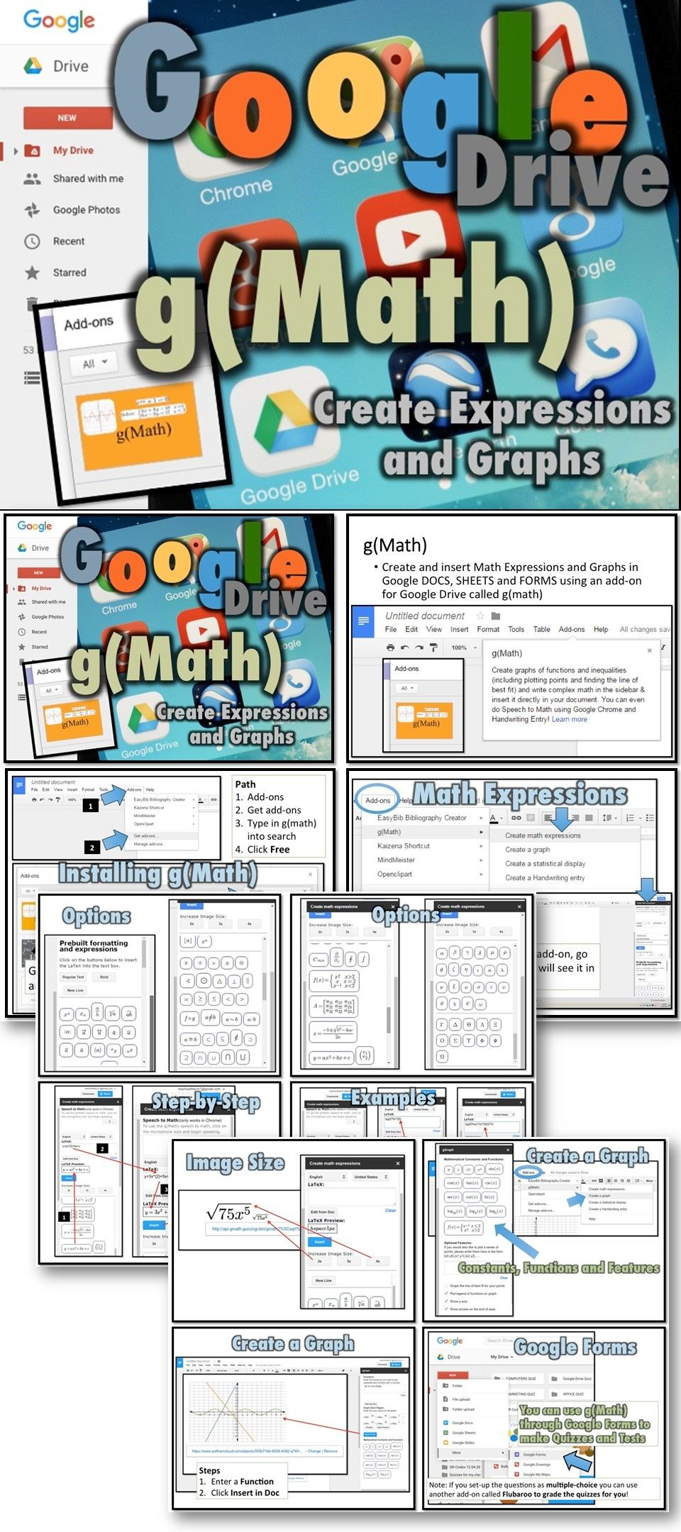 Create and insert Math Expressions and Graphs in Google DOCS, SHEETS ...